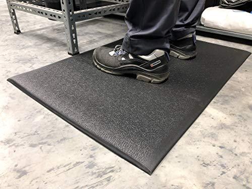 SOFT STEP   Anti-Ermüdungsmatte   Arbeitsplatzmatte   texturiert   10mm hoch (90cm x 150cm, Schwarz)