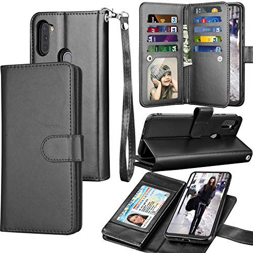 Galaxy A11 Case, Galaxy A11 Wallet Case, Tekcoo Luxury PU Leather Cash Credit Card Slots Holder Carrying Folio Flip Cover [Detachable Magnetic Hard Case] Kickstand for Samsung Galaxy A11 [Black]
