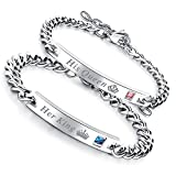 Flongo Pulseras para Parejas, His Queen y Her King, Acero Inoxidable Pulseras de Amor, Color Plata...