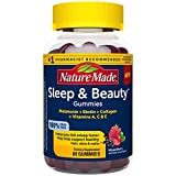Nature Made Sleep & Beauty Vitamins, Melatonin 3 mg Helps You Fall Asleep Faster, Biotin May Help Support Healthy Hair, Skin, and Nails, Plus Hydrolyzed Collagen, Vitamins A, C, and E, 60 Gummies