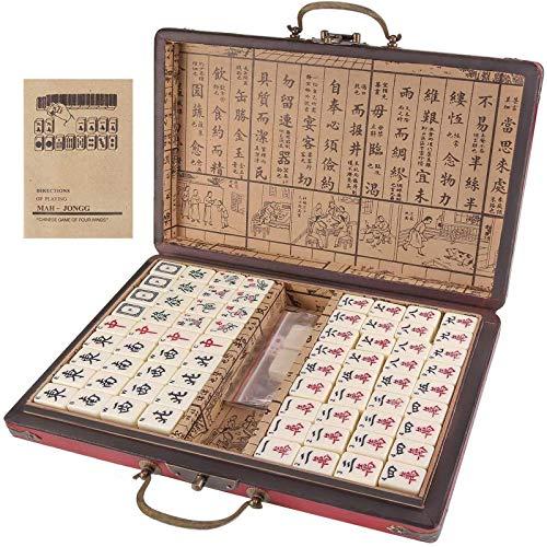 KFGJ Viaje Mahjong con Manual en inglés, Retro Portátil Mah-Jong Chino Mahjong Numerado Set Mah-Jong Set Juguete Chino Portátil con Caja Tablero Juego de Mesa Marrón