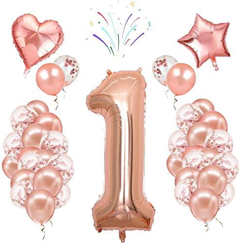 Decorazioni per Feste, Palloncini in Oro Rosa Numero 1 Set di Palloncini in Lattice di Coriandoli in Lamina per Ragazze Donne Compleanno Anniversario di Matrimonio