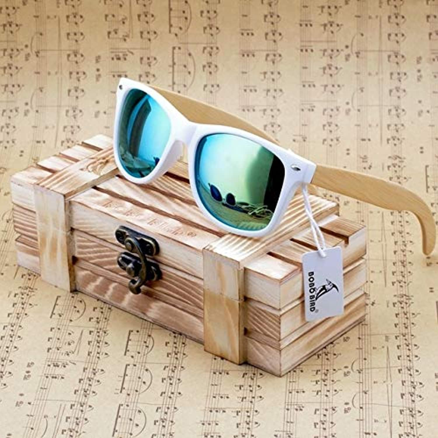 Womens Mens Bamboo Wooden Sunglasses White Frame Eyewear with Coating Mirrored UV 400 Predection Lenses in Wooden Box  (Lenses color  Green)