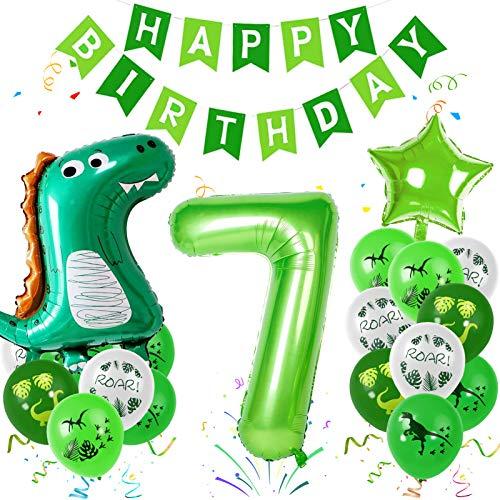 Sunshine smile Dino Luftballons Geburtstag 7 Jahr, Luftballons Dinosaurier Kit, Dschungel Geburtstag Party Deko, Riesen Folienballon Tiere,Safari Geburtstag Deko,Kindergeburtstag Dekorationen