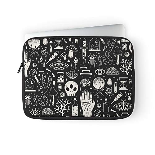 Witchy Occult Wunderkammer Curiosities of Witch Cabinet Spooky Halloween Magic Laptop Sleeve Bag Compatible with MacBook Pro, MacBook Air, Notebook Computer, Water Repelle