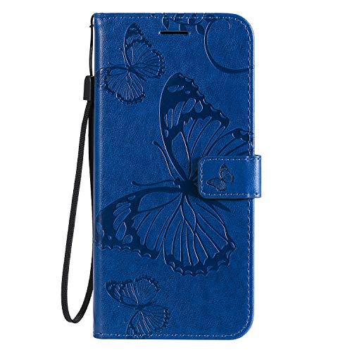 Lomogo [Galaxy S10 5G] Hülle Leder, Schutzhülle Brieftasche mit Kartenfach Klappbar Magnetverschluss Stoßfest Handyhülle Case für Samsung Galaxy S10 5G - LOKTU090180 Blau