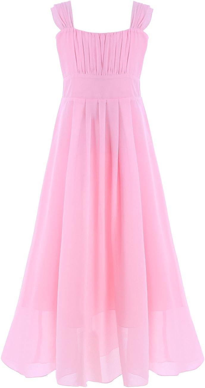 YiZYiF Big Girl's Kid's Chiffon A-line Ruched Sleeve Flower Girl Party Maxi Long Dress