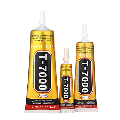 T-7000 Black Glue for Repairs, Screen for Smartphones, Tablet and Shoes Collage, Trinkets, Book Binding 15ML/50ML/110ML (110ml)