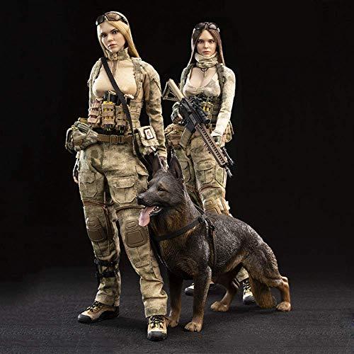 ZSMD 1/6 - Figura de accin extragrande de pecho de 12 pulgadas, tipo de cuerpo  doble soldatina figura femenina + pastor alemn para recogida