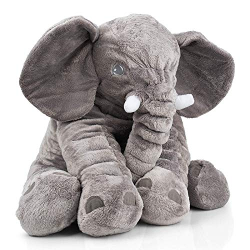 smartpillow XXL Elefant Kuscheltier I 60cm Plüschtier Groß Grau Geschenk für Kinder