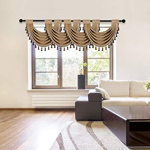 """Thick Chenille Waterfall Swag Valances for Living Room Valance Curtains for Kitchen,Pack of 4 (Coffee, 30"""" W x 22"""" L)"""