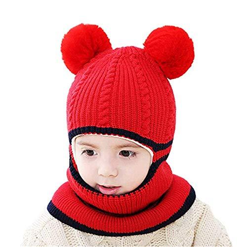 vamei Mütze Kinder Strickmütze Winter Baby Beanie Strickmütze mit Bommel Schlupmütze Mädchen Schalmütze Jungen Warm Wintermütze (Rot)