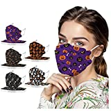 50Pcs Halloween Disposable Face_Masks with 3D Designs for Adults, 4-Ply Breathable Face_Mask with Nose Wire for Holiday Party