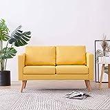 GOTOTOP - Sofá de 2 plazas de diseño escandinavo con 2 cojines de respaldo y 2 cojines de asiento para salón, apartamento pequeño, 116 x 70 x 73 cm, color amarillo