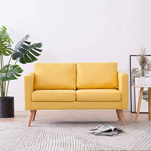 GOTOTOP - Divano a 2 posti, design scandinavo, con 2 cuscini per schienale e 2 cuscini per seduta per salotto, dimensioni 116 x 70 x 73 cm, colore: giallo