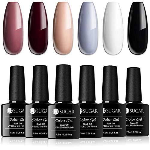 UR SUGAR 7,5ml Vernis à Ongles Gel Semi Permanents Nude Grey de Pure Classic Couleurs UV LED Soakoff pour Nail Art Débutant 6 Couleurs Kit