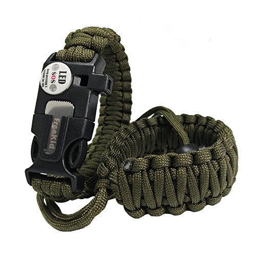 freekid Paracord Bracelet and Wrist Hand Strap Grip Lanyard for Camera Cell Phone iPod Mp3 Mp4 PSP Outdoor Emergency First Aid Tool Kit, Sos Distress Led Light Fire Starter, Emergency Knife, Whistle
