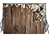 Sensfun 8x6ft Rustic Floral Wood Photo Backdrop White Flowers on Vintage Wood Plank Photography Background for Wedding Sweet 16 Birthday Christmas Party Photobooth Banner Photo Studio Props(WP093)