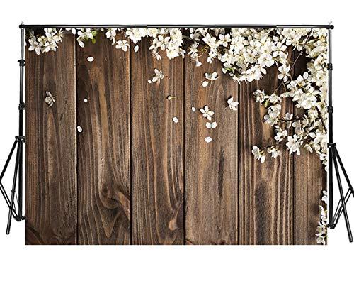 Sensfun 7x5ft Rustic Floral Wood Photography Backdrop White Flowers Decorate Background Vinyl Retro Wood Background Wedding Bridal Shower Backdrop Children Kids Adults Portraits Photo Studio(WP093)