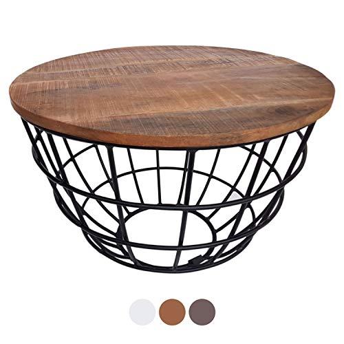 casamia Couchtisch Wohnzimmer-Tisch rund Beistelltisch Lexington ø 55 cm Metall Drahtgestell Gitter massiv Farbe Tabacco