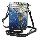 Bolso ligero de piel sintética para teléfono celular, cebo con línea de pesca para comer pequeños peces, bolso de hombro para mujer, color Negro,...