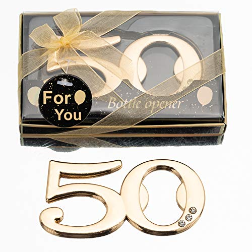 24PCS Latest 50 Bottle Openers for 50th Birthday Party Favors or 50th Wedding Anniversary Party Gifts 50th Birthday Party Gifts Souvenirs Decorations for Guests (24, 50)