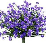 Artificiales Flores,4 Piezas Flores de plástico Artificiales,Resistentes a los Rayos UV,no se decolora,para Interior Outdoor Arbusto de jardín Porche Ventana decoración Planta (Púrpura)