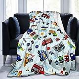 Cartoon Truck Flannel Fleece Blanket, Soft Microfiber Cozy Lightweight Sofa Travel Blanket for Baby, Kids, Youth (50'x40' for Kids)