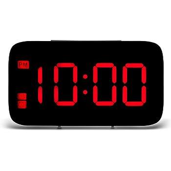 Alarmes de chevet non tic tac, ONEVER horloges de cube d'affichage à LED de Digital, à piles, commande vocale (Rouge)