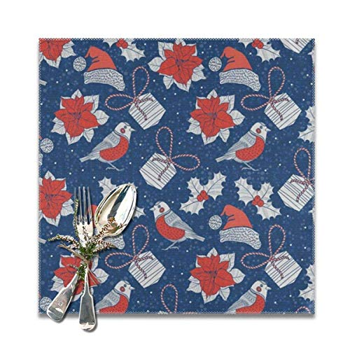 The reusable Poinsettia Flowers and Holly Nave Blue Placemats for Dining Table Set of 6. Heat Resistant Table Mat Washable Non Slip ,Perfect for everyday use,