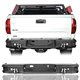 Tundra Rear Bumper for 2014-2020 Toyota Tundra Regular | Double Cab | Crewmax Pickup Truck- Texture Black w/LED Lights & D-Rings