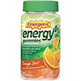 Includes one bottle of 30 Emergen-C Energy+ Gummies in Orange Zest flavor A delicious-tasting gummy for enhanced energy, made with natural caffeine plus 250 mg of Vitamin C, three B vitamins, antioxidants, zinc, and manganese* Focus your mind and rev...