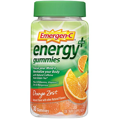 Emergen-C Energy+, with B Vitamins, Vitaminc C and Natural Caffeine from Green Tea (30 Count, Orange Zest Flavor, 1 Month Supply) Dietary Supplement