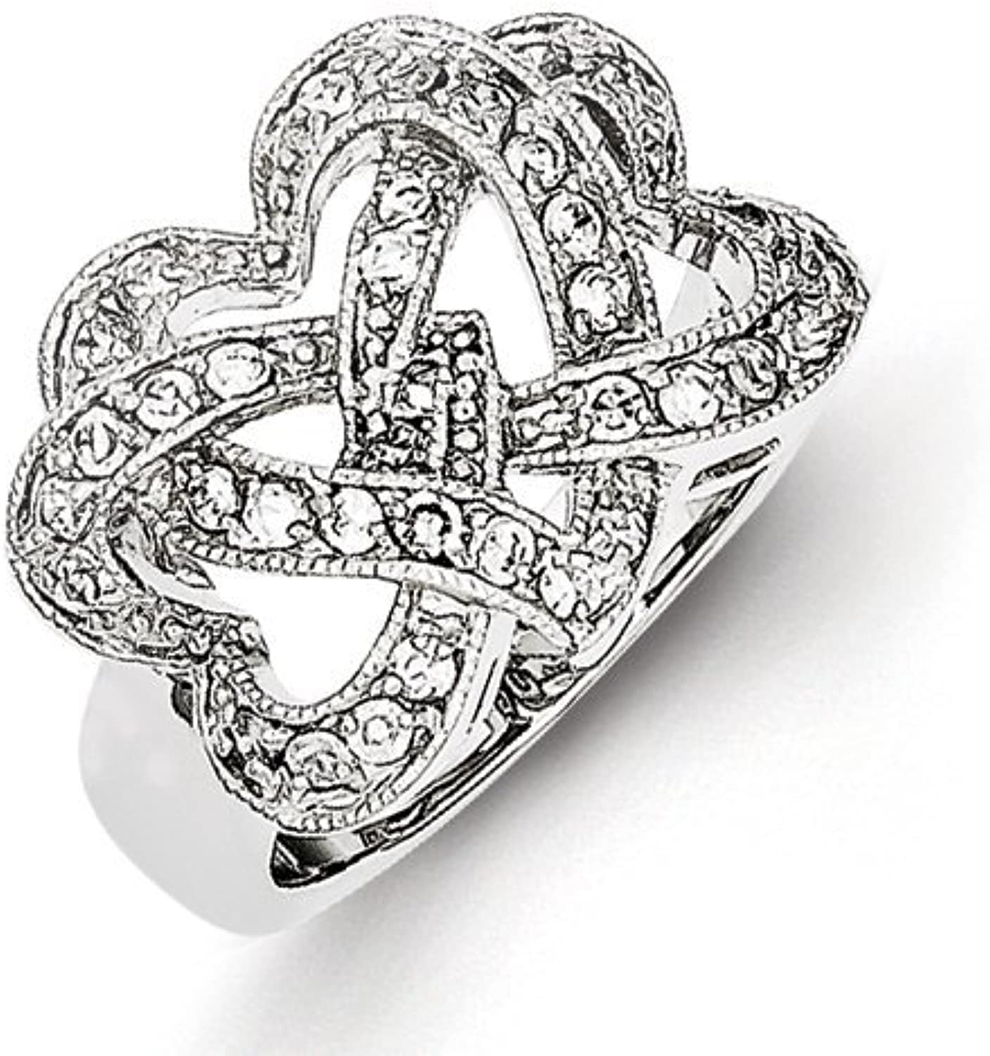 gold and Watches Sterling Silver CZ Intertwined Hearts Ring