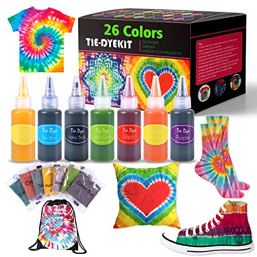 Tie Dye Kits, 26 Colors Tie Dye Shirt Fabric Dye Kit for Kids, Adults, with Rubber Bands, Gloves, Plastic Film and Table Covers for Party Supplies,Perfect for Party, Thanksgiving Christmas