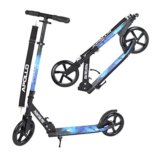 Apollo XXL Wheel Scooter - Phantom Pro City Scooter, Foldable Street Scooter, Height Adjustable Handle, 2 Big Wheels, Kick Scooter for Adults and Children, 220lbs Capacity - Stars