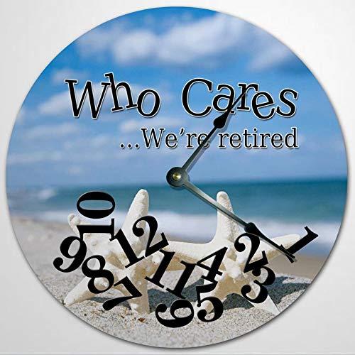 WHO CARES - Reloj de pared con diseño de estrella de mar, de madera, de 30,5 cm, funciona con pilas, decoración de pared de granja, decoración del hogar