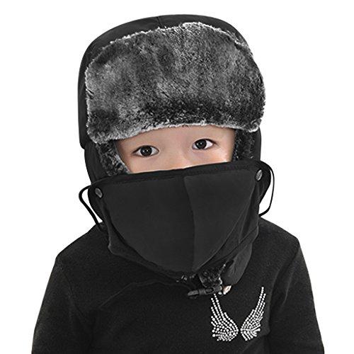YJZQ Jungen Fliegermütze Fellmütze Warm Wintermütze Kinder Pilotenmütze mit Ohrenklappen Outdoor Ski Mütze
