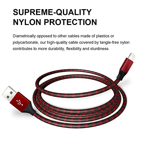 iPhone Charger,UNEN MFi Certified Lightning Cable(3/3/6/6/10FT)Charging USB Syncing Data Nylon Braided with Metal Connector Compatible iPhone 11/Pro/Max/X/XS/XR/XS Max/8/Plus/7/7 Plus/6/6S/6 Plus More