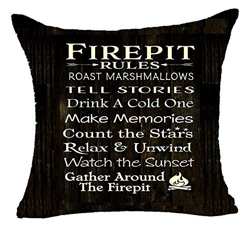 Fcdraon Best Gift Mom Firepit Rules Roast Marshmallows Tell Stories Drink A Cold One Cotton Linen Decorative Home Office Throw Pillow Case Cushion Cover Square 18X18 Inches (A)