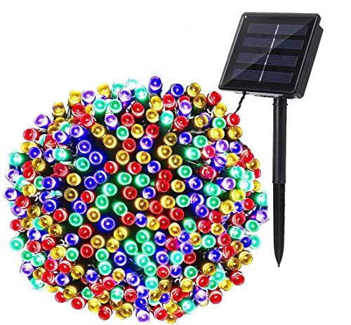 Guirnalda Luces Exterior Solar, BrizLabs 22M 200 LED Cadena de Luces Multicolor 8 Modos de Luz, Decoración para Navidad, Fiestas, Bodas, Patio, Dormitorio Jardines, Festivales, Terraza