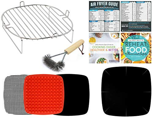 Air Fryer Accessories Compatible With Dash, Power Airfryer Oven, Secura, NuWave, Philips, Emeril Lagasse, Bagotte, Costzon, Enklov, Cosori +More | Baking Mats, Liner, Cooking Time Magnets & Guides