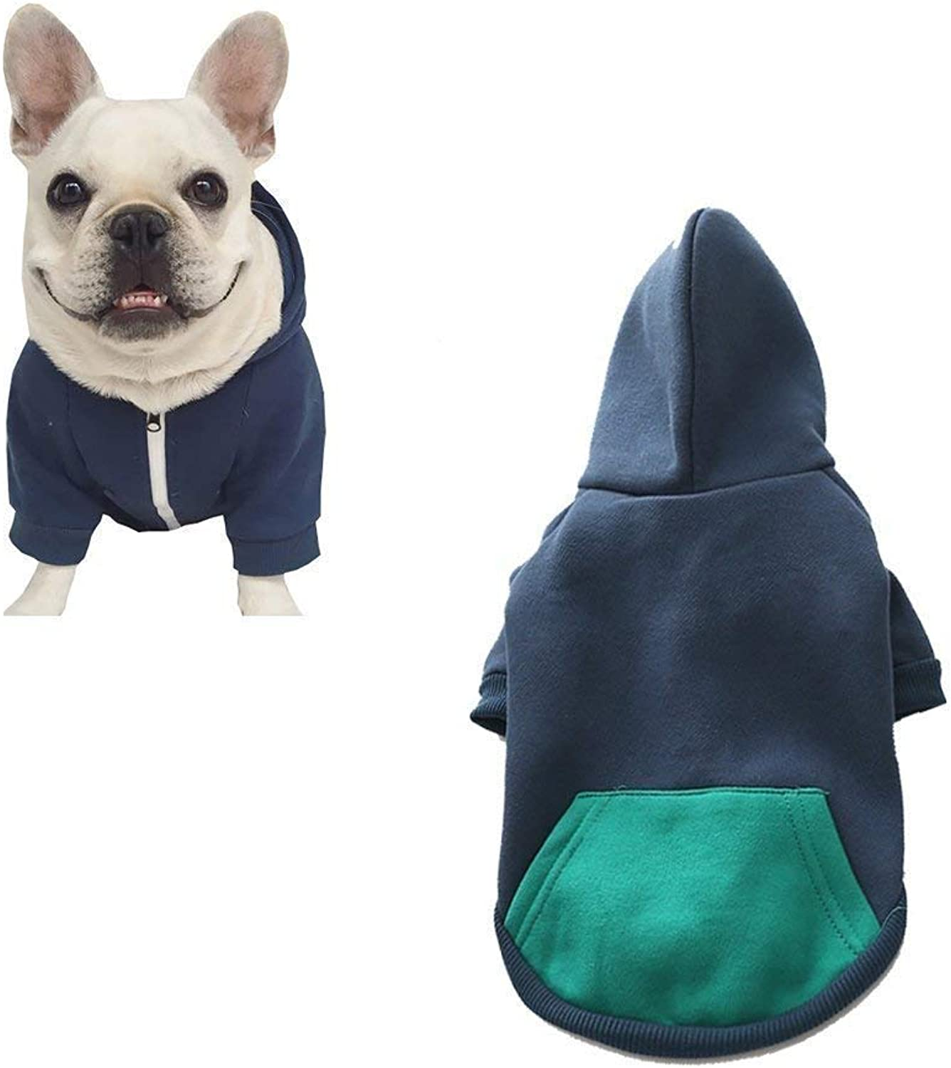 Meigold Pet Clothes Dog Cat Zipper Hoodies Warm Soft Cotton Pet Winter Sweatshirt for French Bulldog Pug (S, Dark bluee)