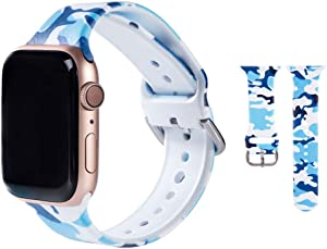 Hi-Yoohere Elegent Bands Compatible with Apple Watch 42mm 44mm, Character Stylish Blue Camouflage Print Slim Soft TPU Wristband Strap for Girls Women iWatch SE & Series 6/5/4/3/2/1