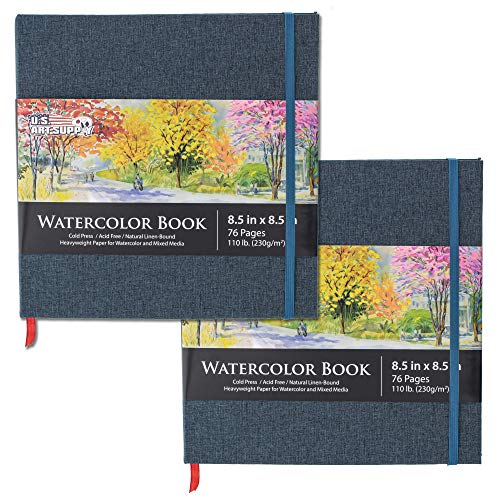 U.S. Art Supply 8.5' x 8.5' Watercolor Book, 2 Pack, 76 Sheets, 110 lb (230 GSM) - Linen-Bound Hardcover Artists Paper Pads - Acid-Free, Cold-Pressed, Brush Painting & Drawing Sketchbook Mixed Media