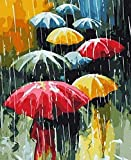 Pintura por número/kit de pintura al óleo de bricolaje/sin marco/pintura al óleo por set pintura de color de lona para principiantes decoración del hogar regalo paraguas-16 * 20 pulgadas
