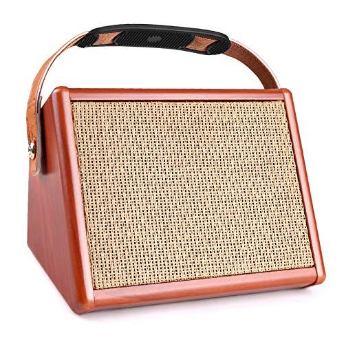 ZXCV 15W Akustikgitarrenverstärker, BT-Lautsprecher mit Mikrofoneingang unterstützt Lautstärkeregel Reverb-Effekt, eingebauter Akku,Orange