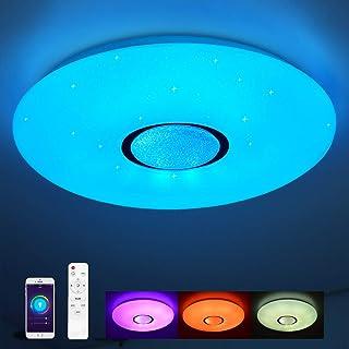 comprar comparacion Lámpara de techo compatible con Amazon Alexa y Google Home 24W, Ø 40CM, cambio de color, estrellas, regulable, blanco cáli...