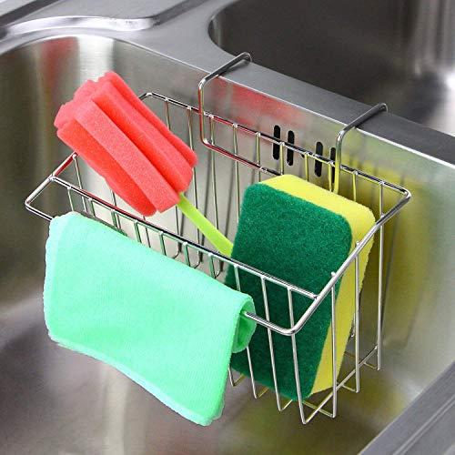 Sink Caddy Sponge Holder, Kitchen Sink Organizer Stainless Steel Sponge Caddy Holder, Dishwashing Liquid Drainer Sponge and Soap Holder for Kitchen Sink