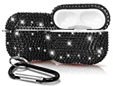 Rhinestone Case Chic Black Diamond Bling Cover with Shimmering/Shining Crystals and Carabiner Keychain Clip for Apple Airpods Pro (2019)